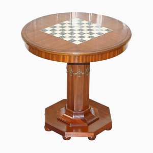 French Empire Hardwood Chess Table in Marble & Ormolu, 1900s