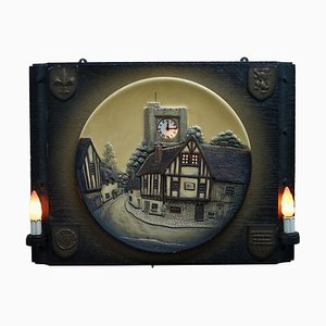 Wall Hanging Clock Depicting a Village Scene, 1950s