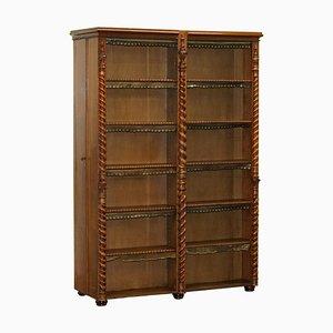 Bookcase with Hidden Built in Coat Cupboards