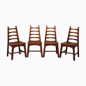 Mid-Century Esszimmerstühle aus roter Eiche, 4er Set