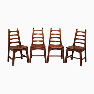 Mid-Century Red Oak Dining Chairs, Set of 4
