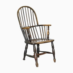 Early 19th Century Hoop Back Windsor Armchair with Worn Paint, West Country, England