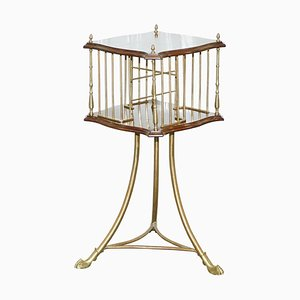 19th Century Hardwood and Brass Revolving Bookcase