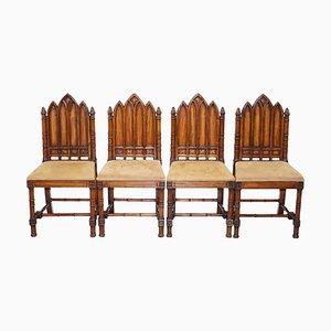 Vintage Esszimmerstühle aus geschnitztem Holz mit Kirschholz Rückenlehnen, 4er Set