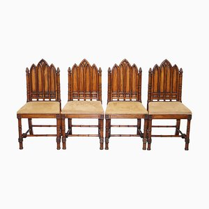 Vintage Gothic Style Carved Wood Steeple Back Dining Chairs, Set of 4