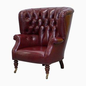 Oxblood Leather Chesterfield Barrel Armchair