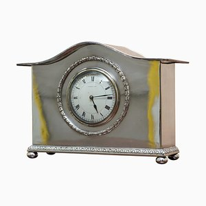 Sterling Silver Plated Archibald Knox Mantle Clock from Liberty & Co. London, 1900s