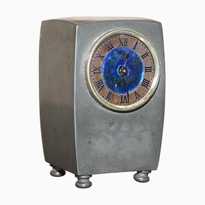 Horloge de Cheminée Vintage en Étain et Émail avec Cadran Bleu et Poinçon
