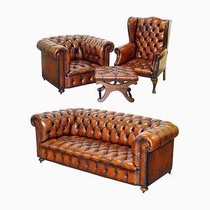Poltrona Chesterfield in pelle marrone e divano, metà XVIII secolo, set di 4