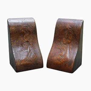 Antique Japanese Samurai Bookends in Leather from Asprey London, Set of 2