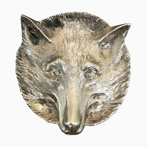 Solid Sterling Silver Pin Tray of a Foxes Head from Asprey London, 1964