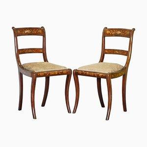 Niederländische Satinholz Beistellstühle mit Intarsien & Intarsien, 1810er, 2er Set
