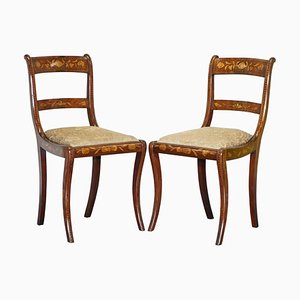 Satinwood Dutch Marquetry Ornate Inlaid Side Chairs, 1810s, Set of 2