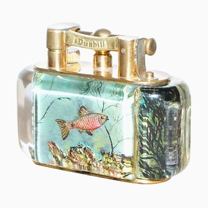 Large Gold-Plated Aquarium Table Lighter from Dunhill, 1950s