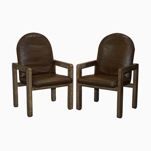 Mid-Century Brown Leather Armchairs, Set of 2