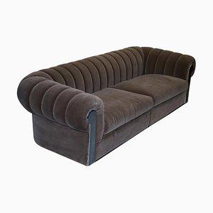 Grey Silk Velvet Sofa with Chrome Panels