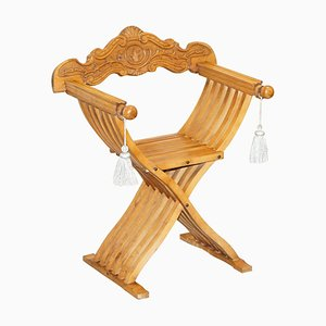 Folding Savonarola Armchair with Silk Hanging Tassels & Carvings