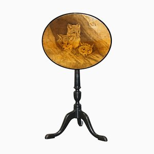 Victorian Tilt Top Ebonised Table with Pen Work Drawings of Fox Cubs