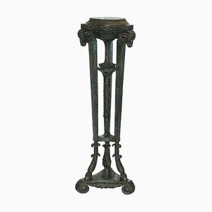 Tall Rams Head Solid Bronze Stand for Busts or Sculptures