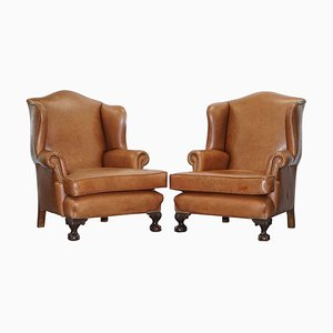 Brown Leather Wingback Armchairs, 1860s, Set of 2