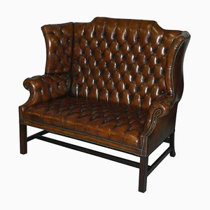 Chesterfield Hand-Dyed Wingback Leather Two Seat Sofa