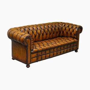 Whisky Brown Pleated Leather Chesterfield Sofa