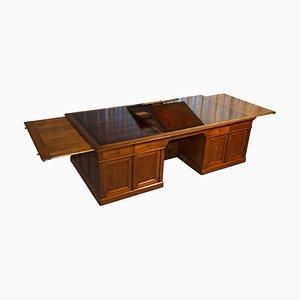 Victorian Oak Brown Leather Partner Desk