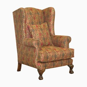 Vintage Wingback Armchair with Claw & Ball Feet and Kilim Style Upholstery
