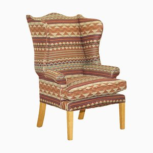 Wingback Armchair in Kilim Wool Upholstery with Beech Frame