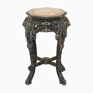 19th Century Chinese Hand-Carved Ebonised Wood & Marble Plant Stand