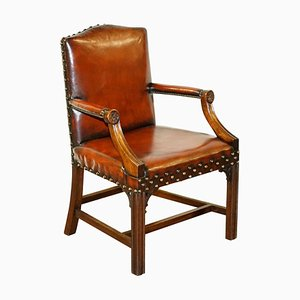 Brown Leather Gainsborough Carver Armchair, 1900s
