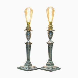 Sterling Silver Corinthian Candlestick Lamps by James Bembridge, 1879, Set of 2