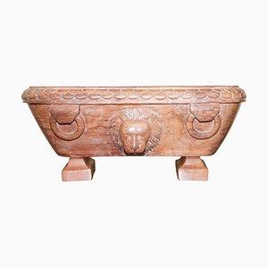 Römisches Grand Tour Gefäß aus frühem 19. Jh. Aus Rosso Antico Marmor mit geschnitzter Löwe