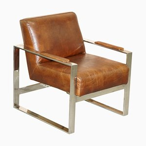 Chrome & Brown Leather Occasional Office Armchair