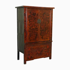 19th Century Chinese Wedding Cabinet in Lacquered & Hand Painted Finish