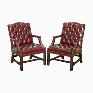 Chesterfield Carved Hardwood & Oxblood Leather Armchairs, Set of 2