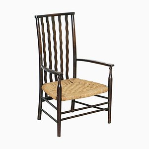 Small 19th Century Woven Lathback Armchair by Morris & Co