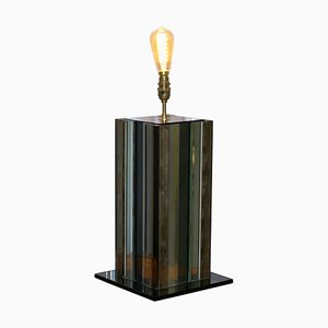 Lámpara de mesa con paneles de vidrio coloreado, años 70