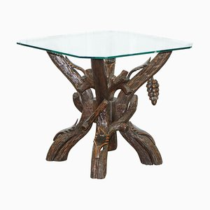 Black Forest Side Table with Glass Top & Wood Carvings of Leaves & Grapes