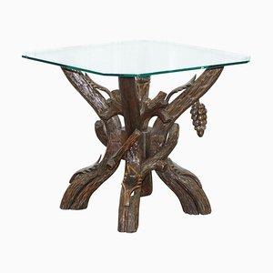 Schwarzwälder Beistelltisch mit Glasplatte & Schnitzereien aus Blättern & Trauben
