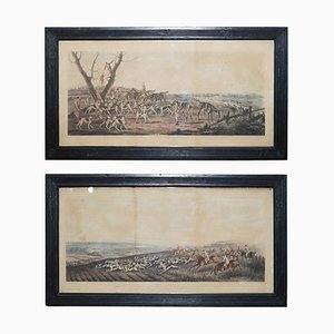 T Sutherland, the Death & the Chase, 1819, Hunting Prints, Set of 2