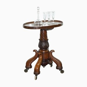 Hardwood Drinks Table with Crystal Decanter & Glasses Wheels, 1860s