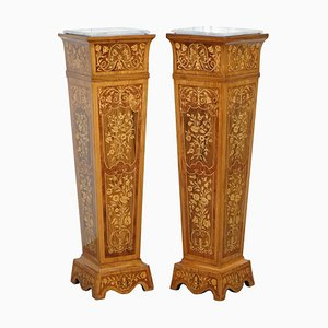 Vintage Kingwood, Rosewood and Marble Marquetry Inlaid Jardinière Stands, Set of 2