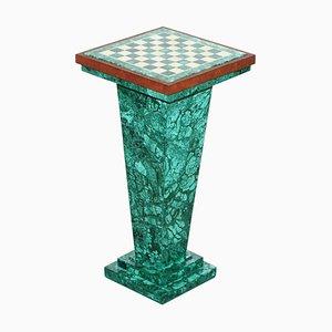 Vintage Malachite Pedestal Chess Set After Alfredo Ravasco with Internal Storage