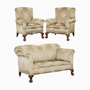 Victorian Drop Arm Sofa & Armchairs with Claw and Ball Feet, Set of 3