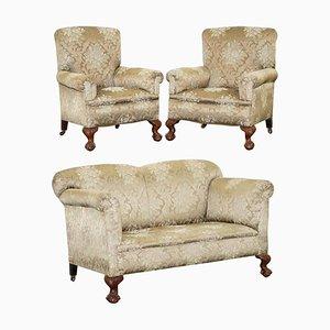 Viktorianisches Klappsofa & Sessel mit Klauenfüßen, 3er Set