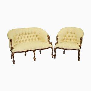 Napoleon III Style Rope Twist Armchair & Sofa, Set of 2