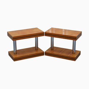 Mid-Century Modern Chrome-Plated & Satinwood Side Tables, Set of 2