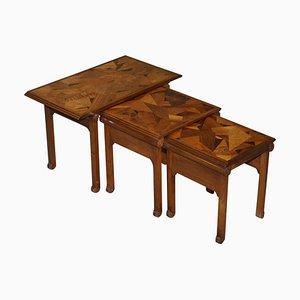 Art Nouveau Specimen Wood Nesting Tables by Emile Galle, 1900s, Set of 3
