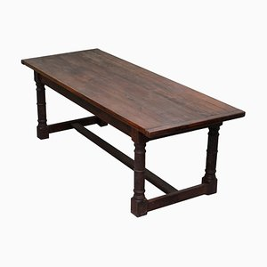 Vintage English 8-10 Person Farmhouse Table with Timber Planked Top